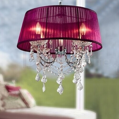 European style living room pink fabric shade chandelier