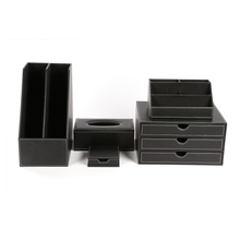 Custom Hotel Desk Organizer Set Leather Office Stationery Organizer Sets