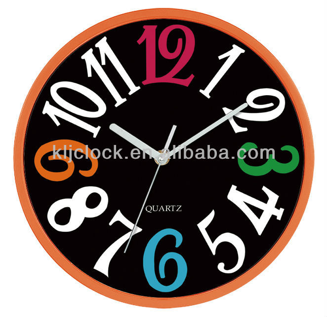 10 inch Round Plastic Wall Clock with Different Color Number