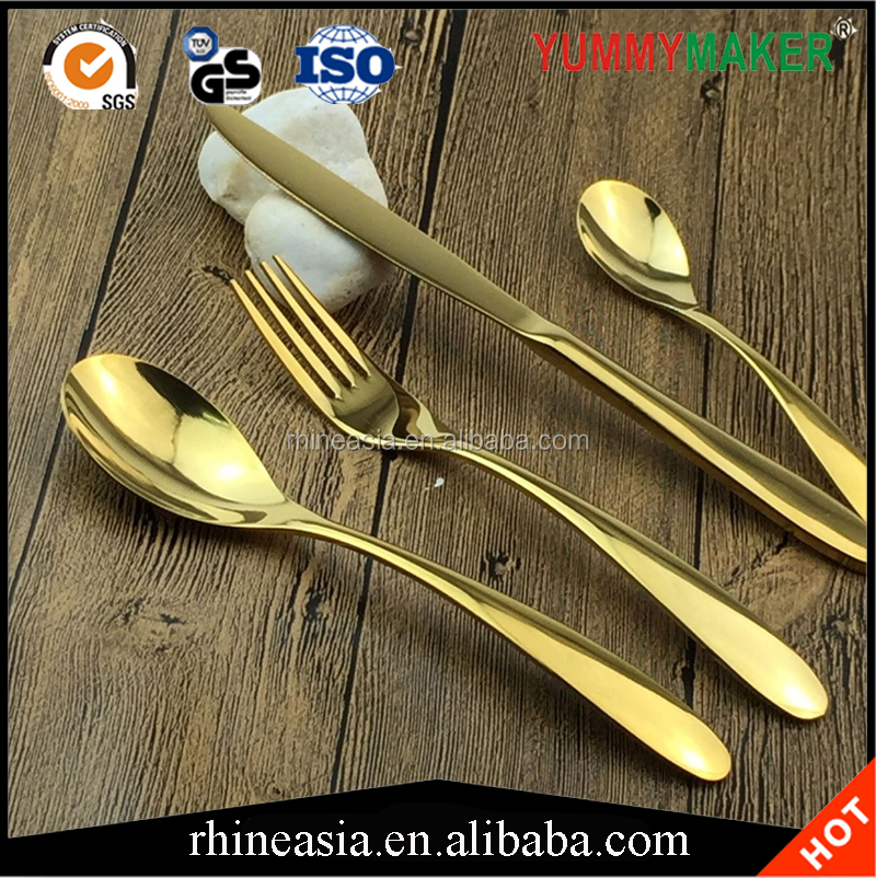 Mirror Polishing Flatware Set Western Style Gold Plated Stainless Steel Cutlery