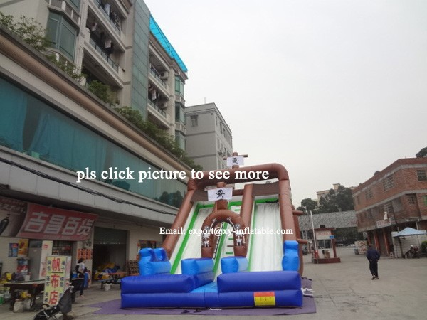 double lane inflatable slides giant inflatable pirate ship slide