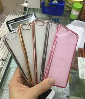 Ultra Thin Rose Gold Plating Crystal Clear Case For Iphone 5/6/6plus Transparent tpu soft Phone Bag Covers