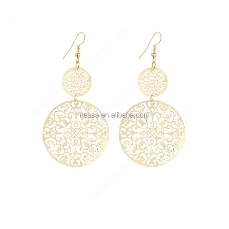 Fashion gold plated dangle long <strong>earrings</strong> for women classic pattern hollow round NSCC-0002