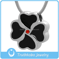 Lucky Pet Cremation Jewelry Stainless Steel Hearts of Clover with Red Gemstone Urn Pendant Wholesale