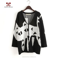 2016 fashion knitting Autumn clothing long joker color Sweet cat knitting sweater cardigan