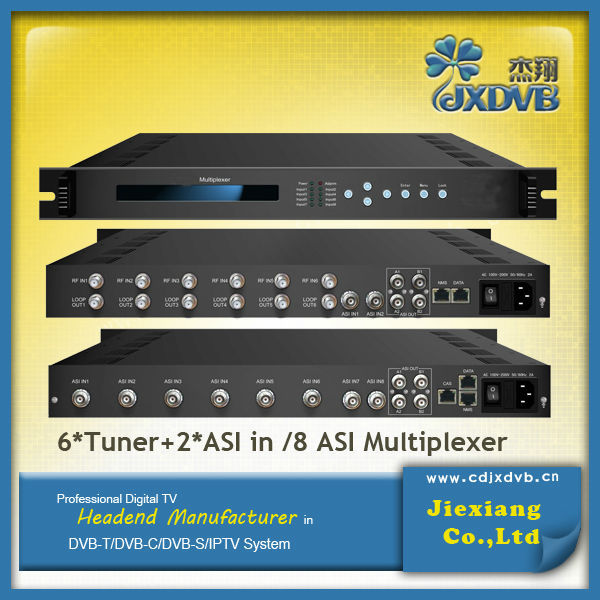 CATV Equipment 2 ASI+6 Tuner(8 ASI) Satellite TV Multiplexer Scrambler