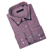 Fancy design double collar Slim Fit social Classic Business Casual banded Work Shirt Mens Long-sleeved Striped Dress Shirt