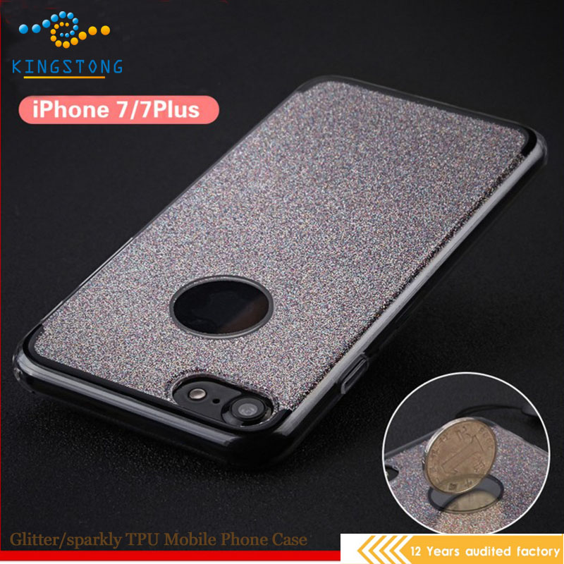 New mobile cover for iphone7 case, phone case for iphone 7, glitter TPU pc for iphone 7 plus case