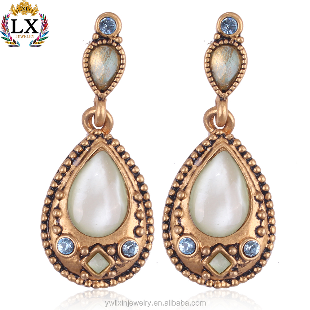 ELX-00300 kundan jhumka jhumka style indian earrings jewelry girl accessories retro antique gold earrings