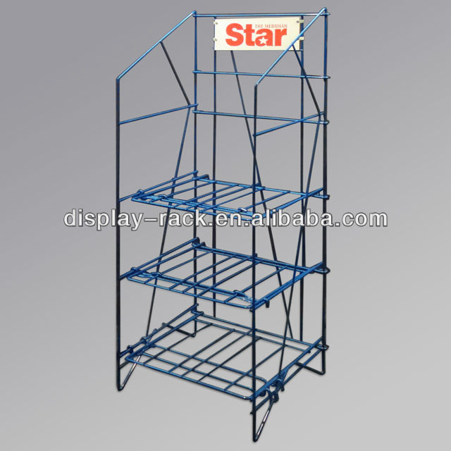 3 shelf, foldable, broadsheet display rack with 32 inches of stacking capacity.