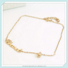 Fashion design letter shaped custom stainless steel gold anklet with bells