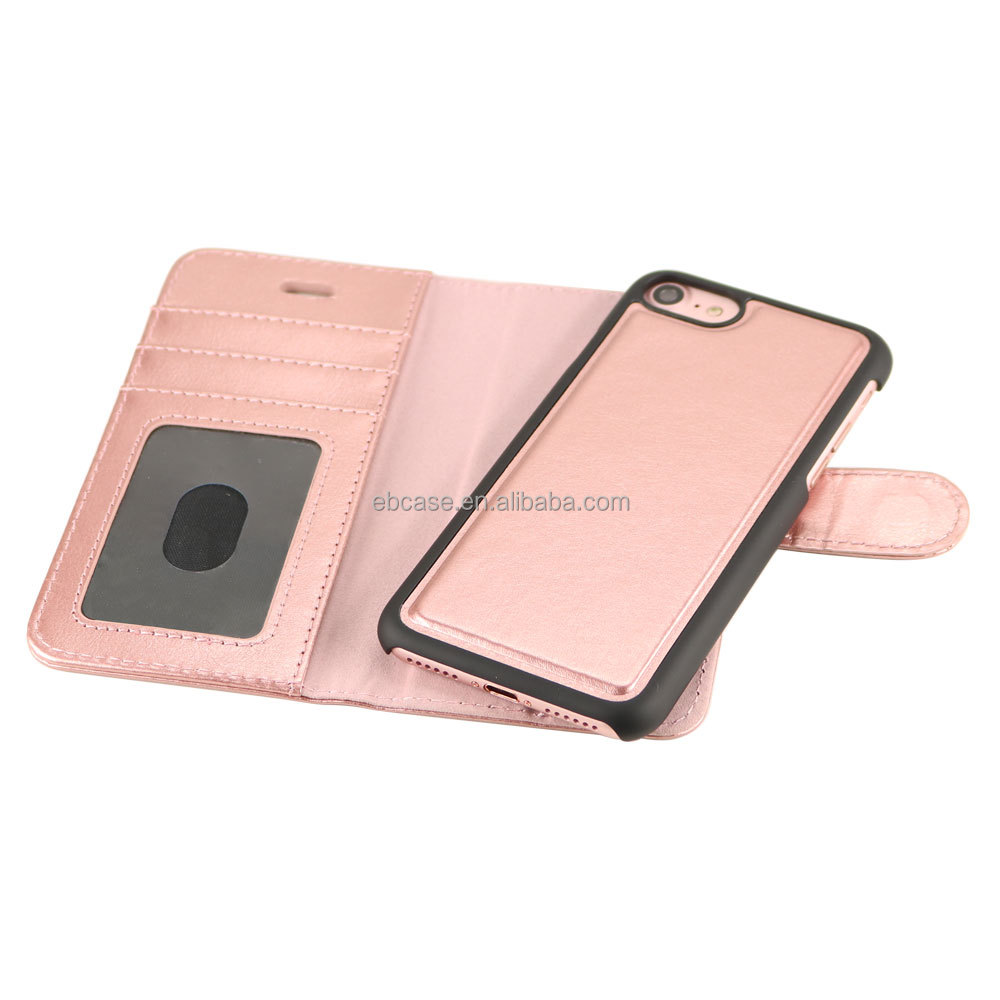Rose Gold detachable Leather Wallet Case with card holders for iPhone 7