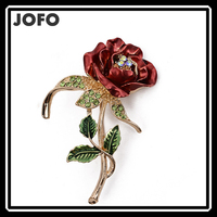 Fashion Jewelry 18K Gold-plated Multicolor Crystal Rhinestone Red Rose Brooch Pin Mother's Day Brooch Gift Enamel Rose Brooch