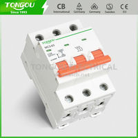 State-of-art Design Handle Central-staying Function DIN Rail 20A 6KA 230VAC 50/60Hz 3P Miniature Circuit Breaker TOMC3-63
