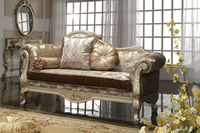 wooden carved royal classic sofa set / luxury fabric living room furniture G2951a