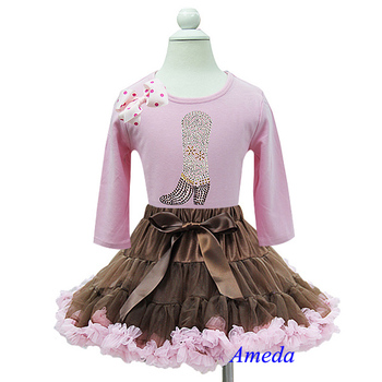 Brown Light Pink Pettiskirt Rhinestone Cowgirl Cowboy Boots Polka Dots Long Sleeves Tee Party Dress 1-7Y