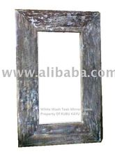 White Wash Teak Wall Mirror Frame