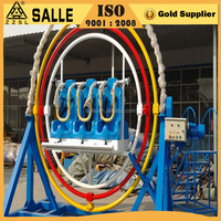 On sale human gyroscope ride in the fairground with 4 seats