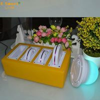 6 Inch Square Shape RGB LED Vase Light /LED Under Vase Light For Wedding Table Centerpiece Decoration