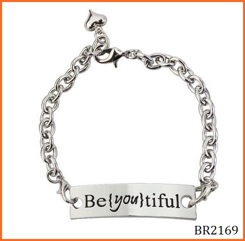New fashion 2016 Stamped letter Stainless Steel bracelet Cuff Inspirational 316L Stainless Steel Bracelet