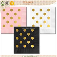 disposable gold and white square party paper napkin