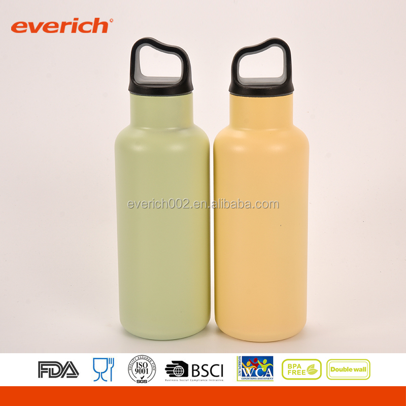 Portable Handle cap 600ml bicycle sport stainless steel water bottle