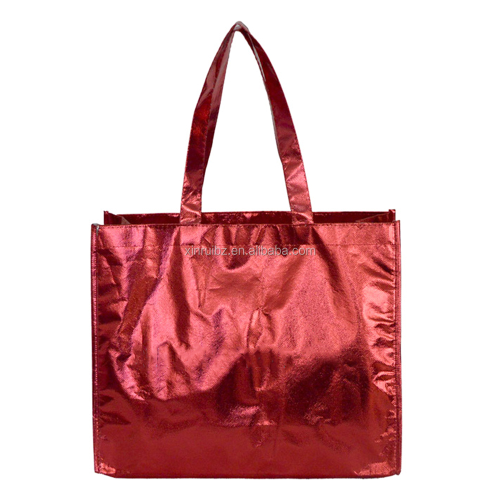 Metallic color promotion custom glossy laminated tote bag wholesale