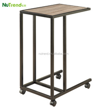 Movable industrial metal cheap Side Table with wheels