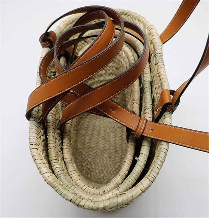 Unique Straw Woven Bucket Bag Summer Travel Vacation Picnic Tote