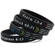 Customized rubber baller bands Church Christian Jewelry Silicone Wristbands Bible Verses Bracelet