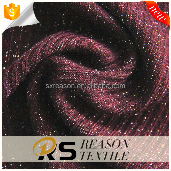 2017 new style fashion polyester 1x1 rib knit fabric silver fabric