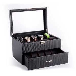 Luxury Black Watch Package Box Available Stock Display Window 10 Slots Leather Watch Box