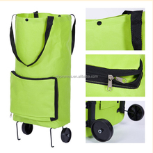 Custom Foldable Portable Shopping Bag With Wheels, Shopping Cart Trollery Bag