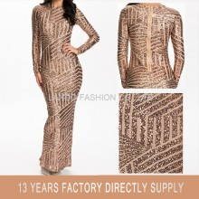 2016 New Fashion Lady Long Sleeve Shiny Gold Sequin Women Maxi Evening Dress