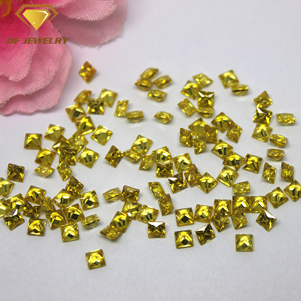 Machine Cut Yellow Cubic Zirconia Synthetic Square CZ Gemstone
