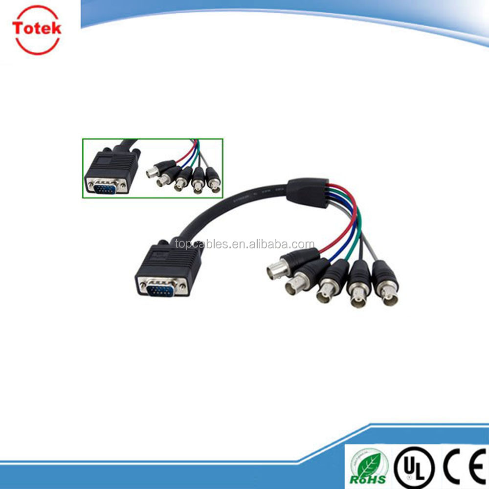 china manufacture competitive price VGA to 5 BNC adapter cable