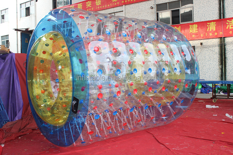 colorful polyester inflatable jumbo water roller walking rolling ball