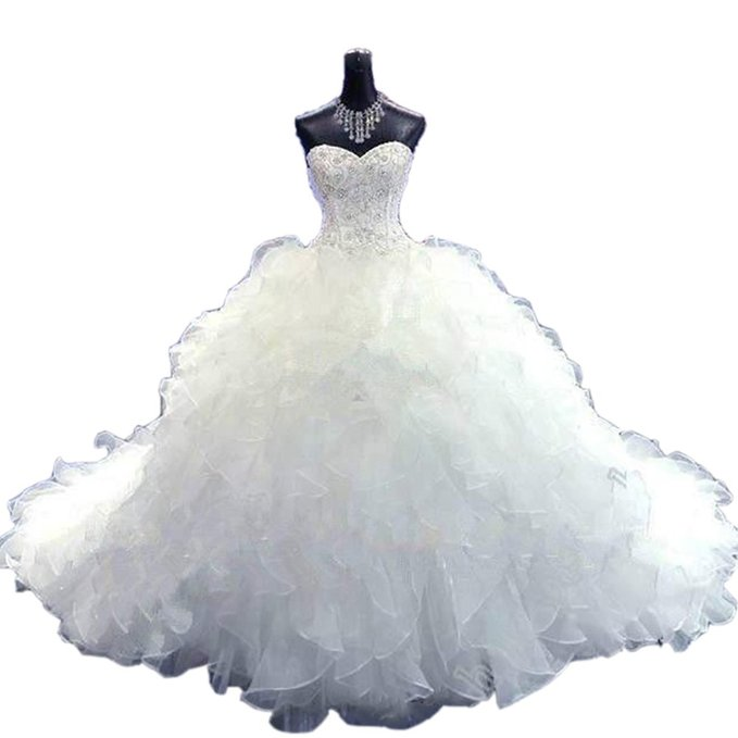 Beads Royal Wedding Dresses with Long Train Ruffles ball gown bridal dress