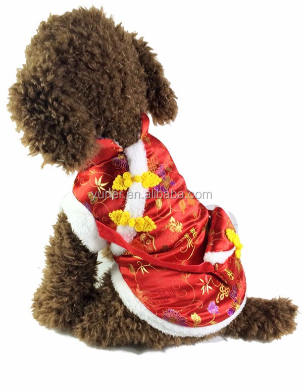 2016 New Chinese traditional style adult pet dog clothing with bag party costumes
