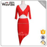 Sexy red two-piece design womens beautiful chiffon low cut maxi dress