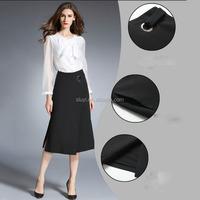 Knit Ruffled Women Midi Pleated Skirt A line plus size black skirt elegant empire line wedding dresses plus size