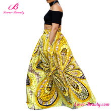 Floral yellow african print party wear bubble women long skirt with kurti