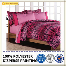 100% polyester pink zebra printed bedding set soft fabric