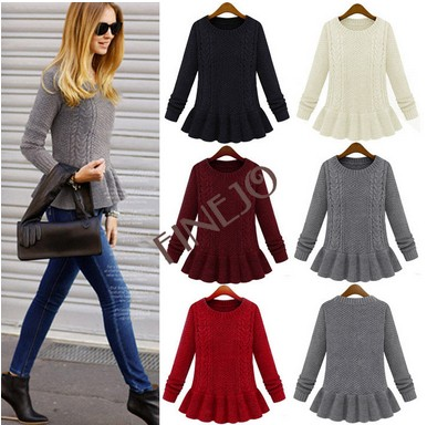 2014 New Fashion Women Knitted Casual Loose Wool Thick Sweater 19168