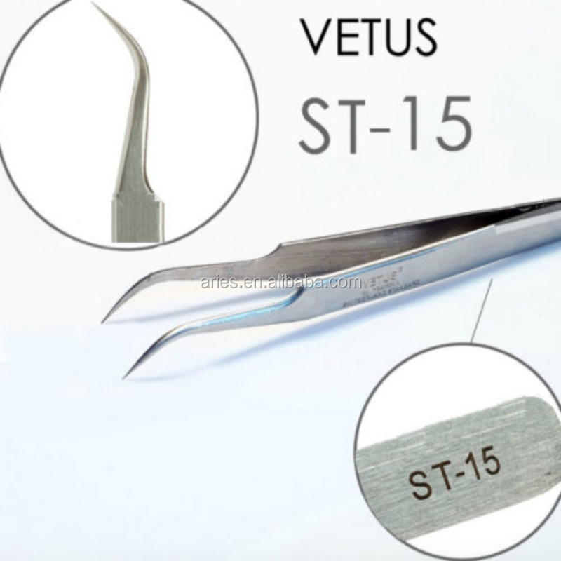 ST-15 Curve Precision Sharp Swiss Quality Stainless VETUS Tweezers