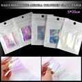 nail art irregular broken glass mirror hologram nails fake decoration foil transparent nail sticker