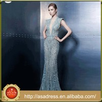 ZNK13 Lebanon Style Aqua Lady Party Gowns Heavy Beaded Deep V-neck Illusion Sexy Dress for Evening Party