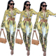 Womens 2 Piece outfits print new fashion suit sexy clubwear latest suit design