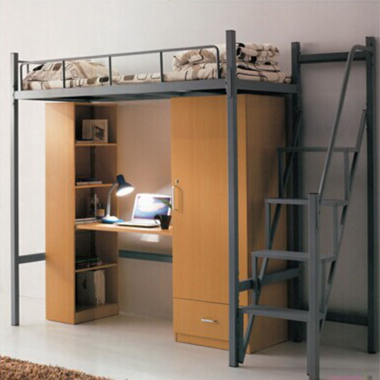 Popular Metal Single Bed College Metal Bunk Bed with Desk and Storage Wardrobe