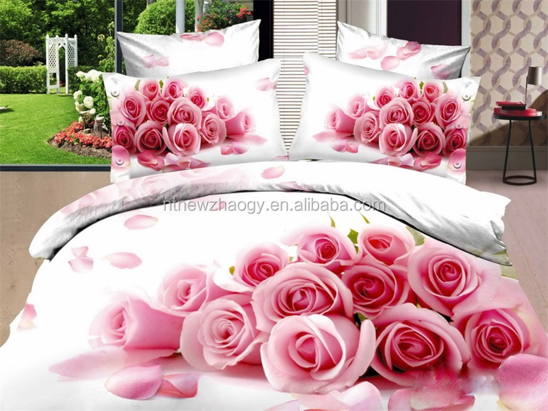 wholesale 100% cotton reactive printed moonlight shadow roses luxury duvet cover flat sheet fitted sheet pillowcase bedding set